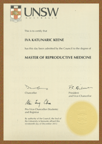Masters in Reproductive Medicine Iva Keene